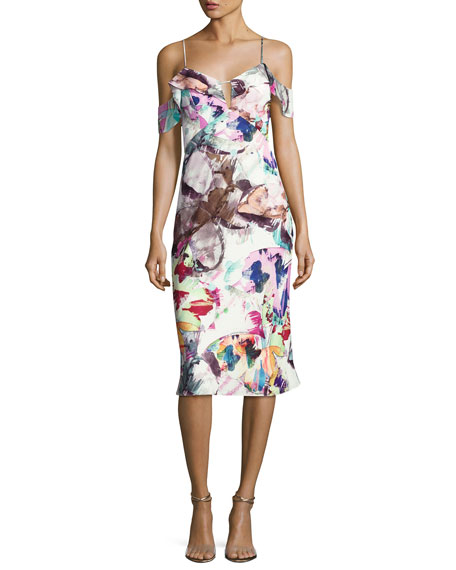 Black Halo Lola Cold-Shoulder Abstract Sheath Dress, Butterfly