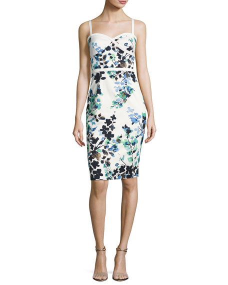 Daria Sleeveless Floral Sweetheart Cocktail Dress, Green/White/Multicolor
