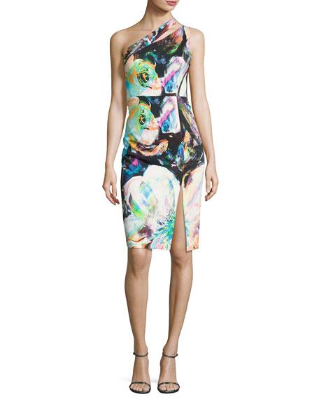 Black Halo Yara One-Shoulder Floral Cocktail Dress, Multicolor