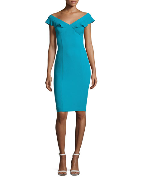 Black Halo Emilia Off-the-Shoulder Scuba Cocktail Dress, Blue