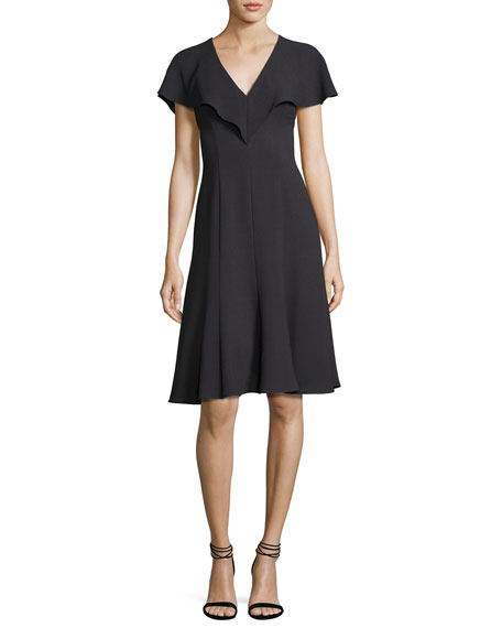 Black Halo Cisco Fit-and-Flare Scuba Dress, Equinox