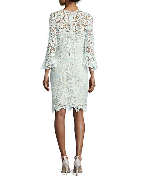 Jemima Floral Lace Sheath Dress, Light Blue