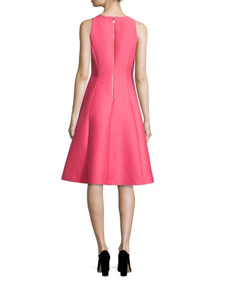 pleated beaded taffeta cocktail dress, pink