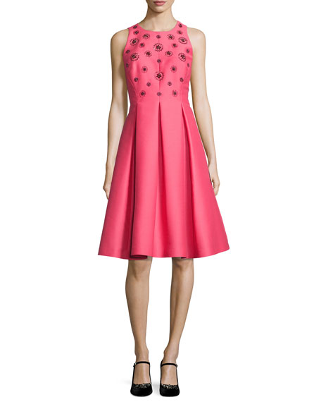 kate spade new york pleated beaded taffeta cocktail