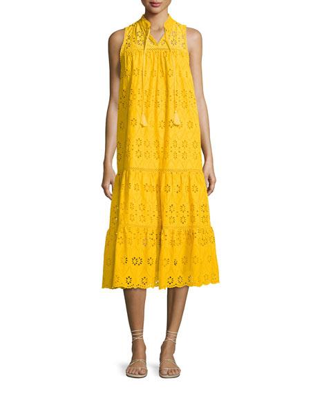 sleeveless cotton eyelet midi dress, yellow