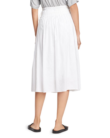 Stitch-Pleated Wrap Midi Skirt, White