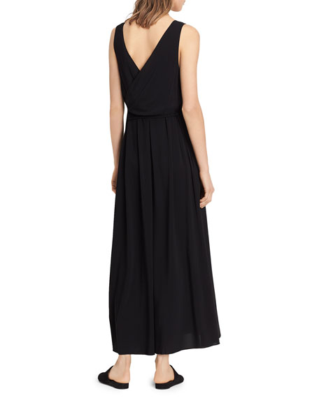 Wrap Back Scoop-Neck Dress, Black