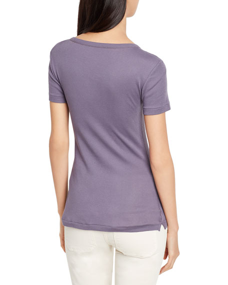 Scoop-V-Neck Short-Sleeve Tee