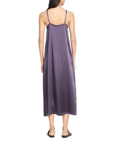 VINCE Pleated V-Neck Slip Dress, Plum