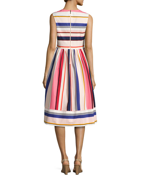 sleeveless berber striped fit-and-flare dress, multicolor