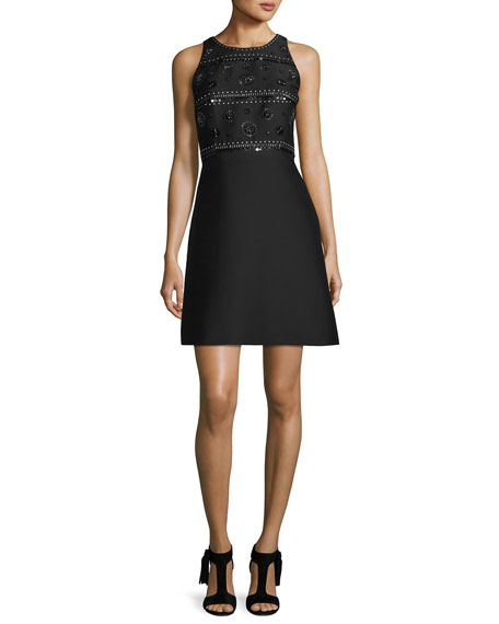 sleeveless beaded cocktail dress, black