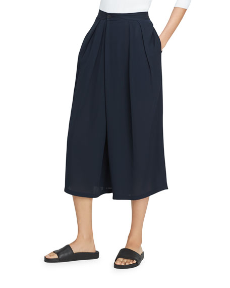 Vince Crossover Pull-On Culotte Pant, Coastal Blue