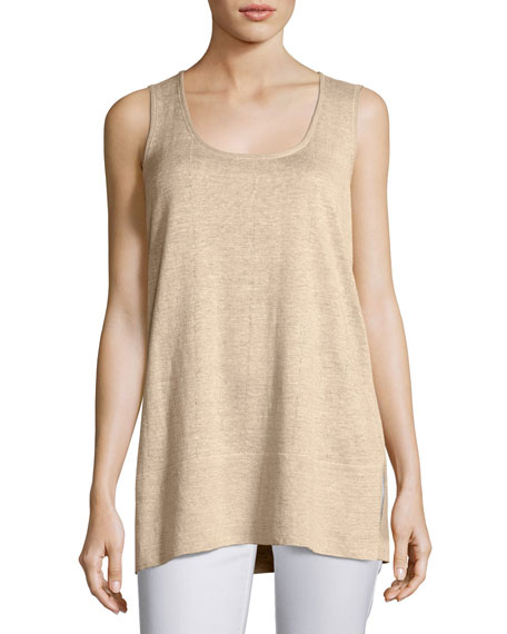Lafayette 148 New York Scoop-Neck Linen Melange Tank,
