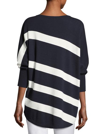 Dolman-Sleeve Bicolor Striped Matte Crepe Sweater, Ink/Cloud