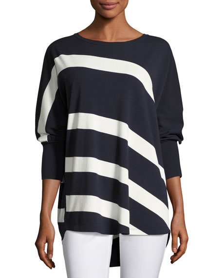 Lafayette 148 New York Dolman-Sleeve Bicolor Striped Matte