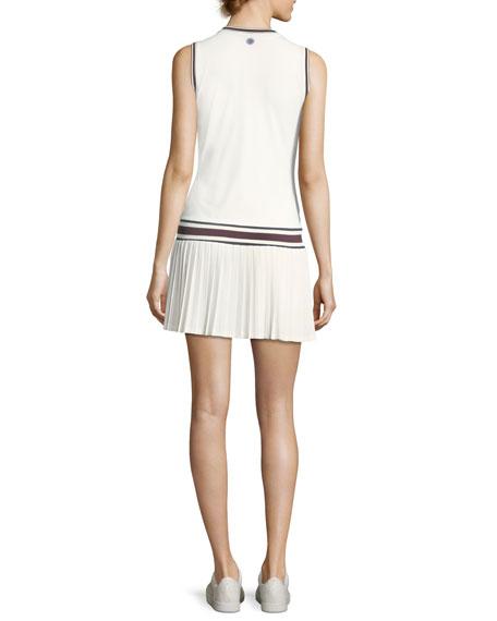 V-Neck Pleated Sleeveless Tennis Dress