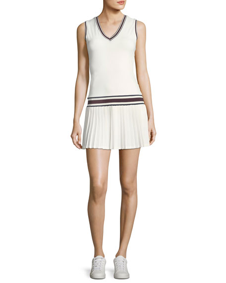Tory Sport V-Neck Pleated Sleeveless Tennis Dress
