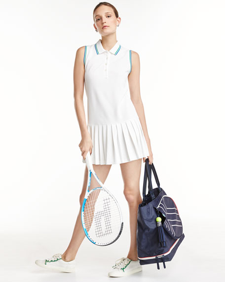 Pleated Polo Sports Dress, White