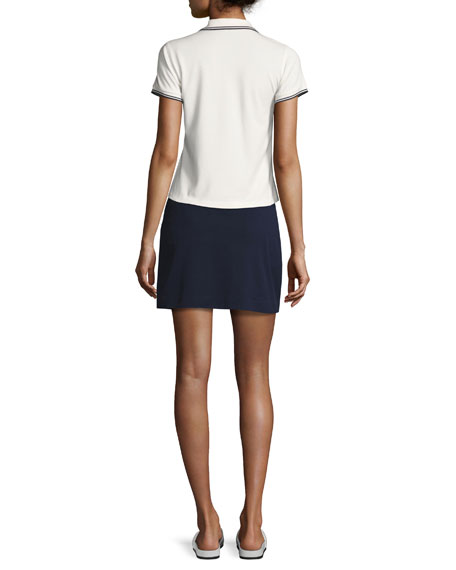 Piqué Contrast-Stitch Tennis Skirt, Navy