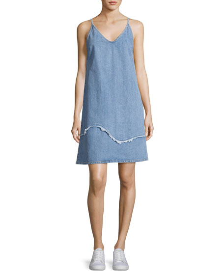 Harley Frayed Denim Dress, Indigo