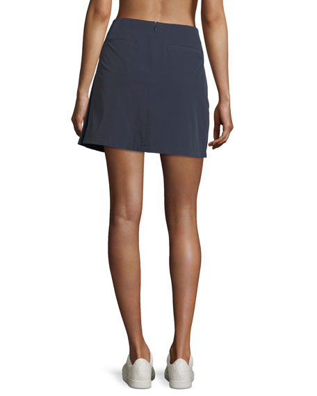 Stretch-Woven Pleated Performance Skirt