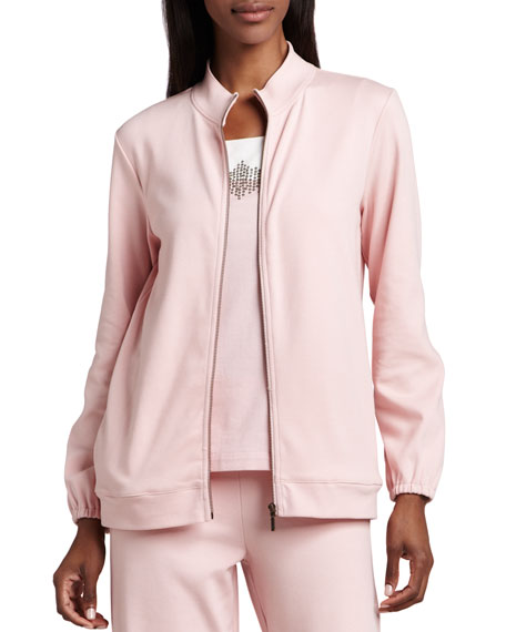 Joan Vass Interlock Zip Jacket, Plus Size
