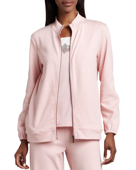 Joan Vass Interlock Zip Jacket, Petite