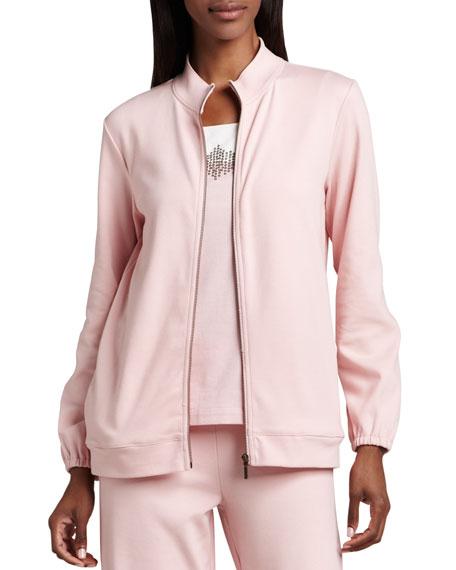Joan Vass Interlock Zip Jacket, Beaded Jersey Shell