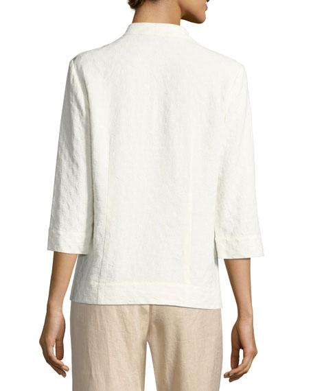 Textured Linen-Blend 3/4-Sleeve Top
