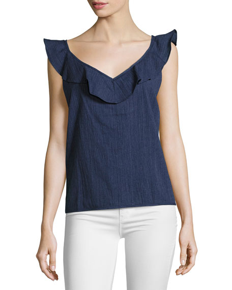 Veeba Sleeveless Ruffled Cotton Top, Navy