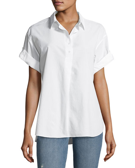MiH Tuck-In Roll-Sleeve Cotton Shirt, White
