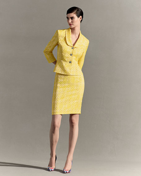 Floral Jacquard Jacket w/ Pencil Skirt, Yellow/White