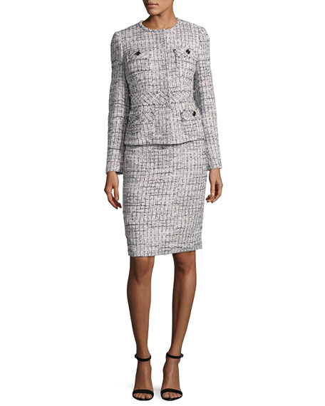 Albert Nipon Tweed Jacket w/ Pencil Skirt, Multicolor