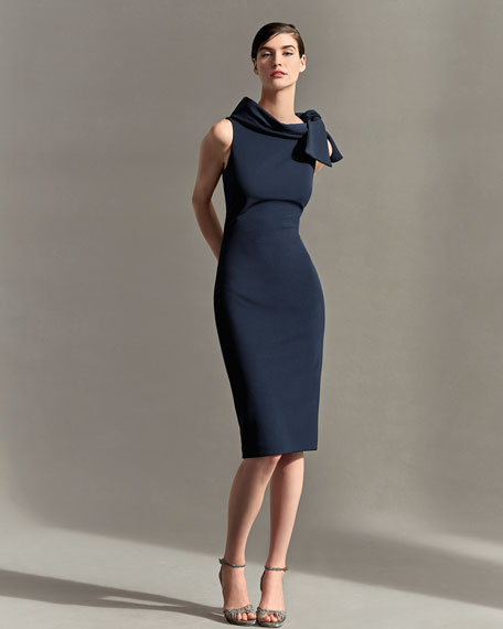 Sleeveless Tie-Neck Cocktail Dress, Navy