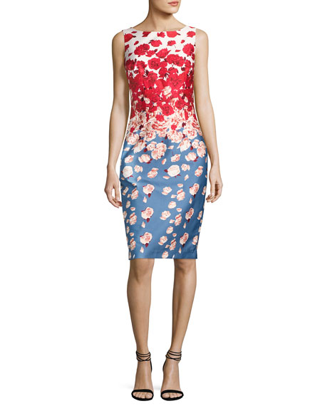 David Meister Sleeveless Floral Cocktail Dress, Blue/Red