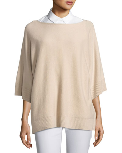 Cashmere Dolman-Sleeve Oversized Sweater, Bisque