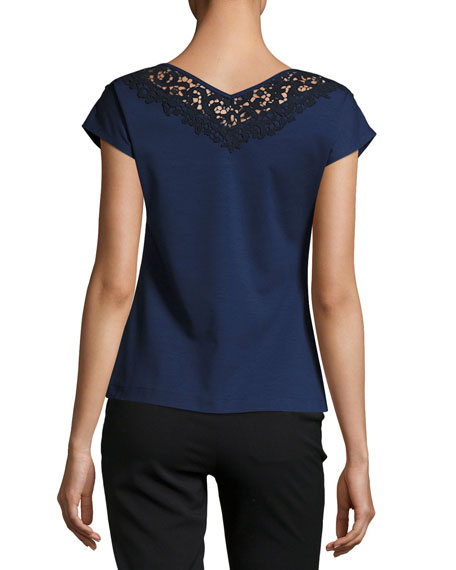 Lace-Trimmed Swiss Stretch Cotton Top