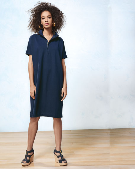 Short-Sleeve Piqué Dress, Plus Size