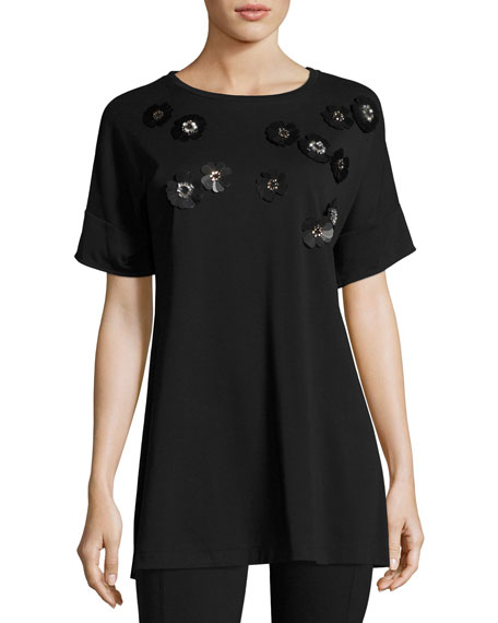 Joan Vass Short-Sleeve Tunic w/ Paillette Flowers, Black,