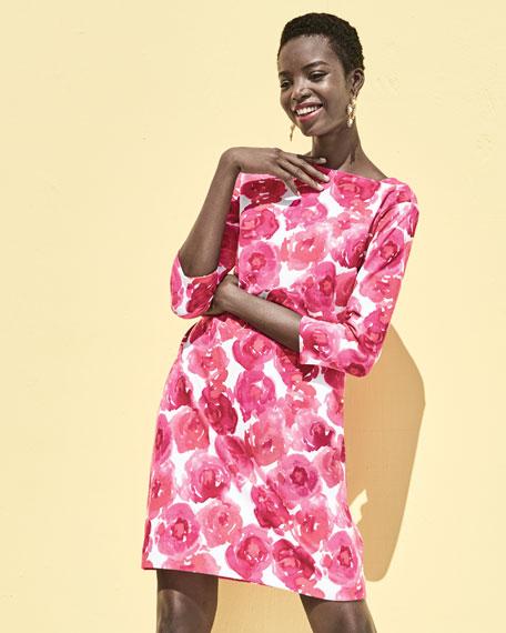 3/4-Sleeve Floral-Print Dress