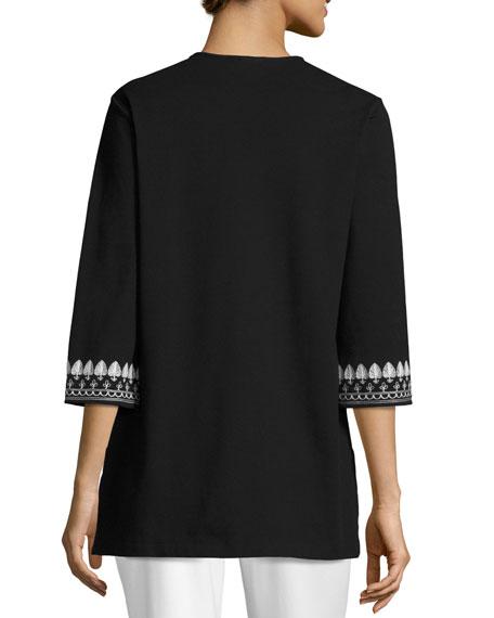 3/4-Sleeve Cotton Interlock Embroidered Tunic, Black/White, Plus Size