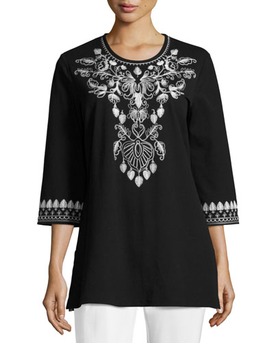 3/4-Sleeve Cotton Interlock Embroidered Tunic, Black/White, Plus Size