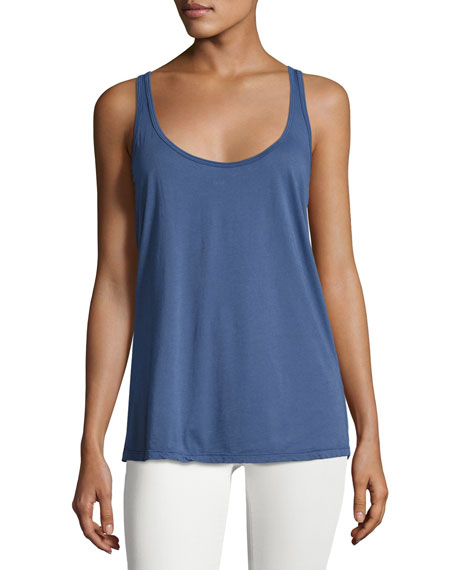 Johnny Was Cotton Modal Scoop-Neck Tank, Navy, Petite