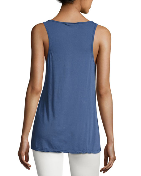 Cotton Modal Scoop-Neck Tank, Navy