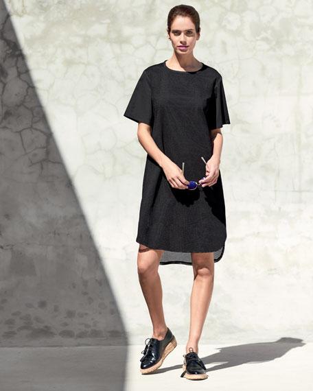 Shawn Short-Sleeve Mesh Dress, Black