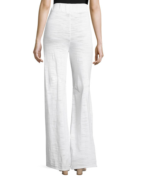 Pull-On Palazzo Pants, White