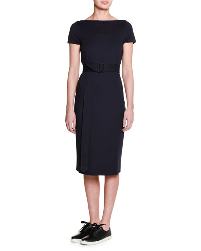 Cap-Sleeve Belted Sheath Dress, Blazer