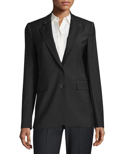 Aaren Continuous Wool-Blend Jacket, Black