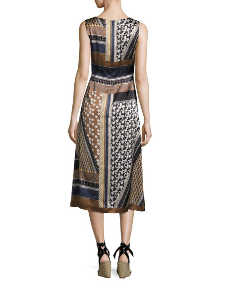 Sebella Sleeveless Piazetta Patchwork Silk Midi Dress, Ink Multi