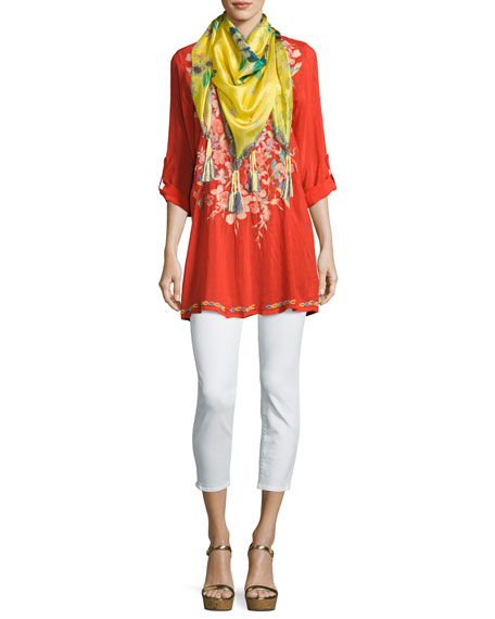 Nikky Embroidered Georgette Long Tunic, Orange, Plus Size